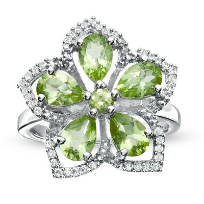 Peridot and White Topaz Flower Ring in Sterling Silver - Zales