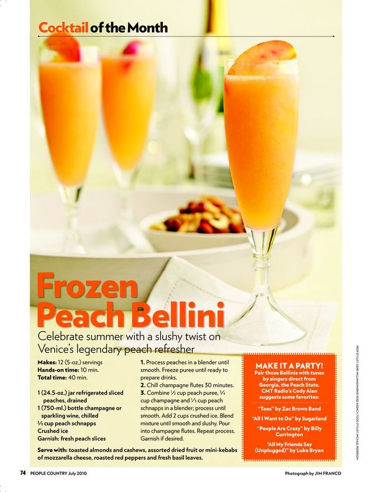 Peach Bellini - recipe! yuuummm | Gluten free yummies | Pinterest