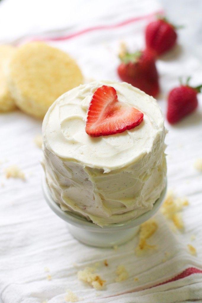 Mini Vanilla Bean Strawberry Layer Cakes