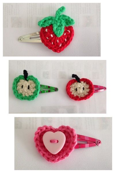 Crochet hair clips. Crochet Pinterest