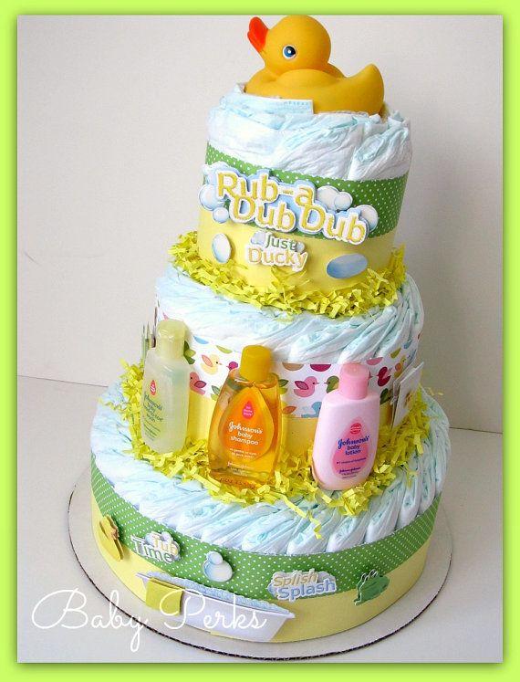 Gender neutral duck diaper cake baby shower decorations for Baby shower diaper decoration