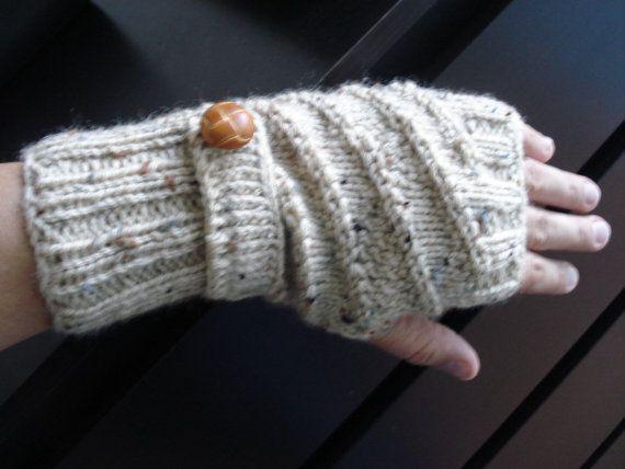 1pair Knitted button flap fingerless gloves mittens wrist ...