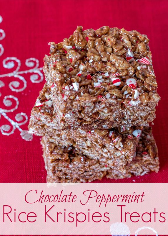 Chocolate Peppermint Rice Krispies Treats...perfect for the holidays ...