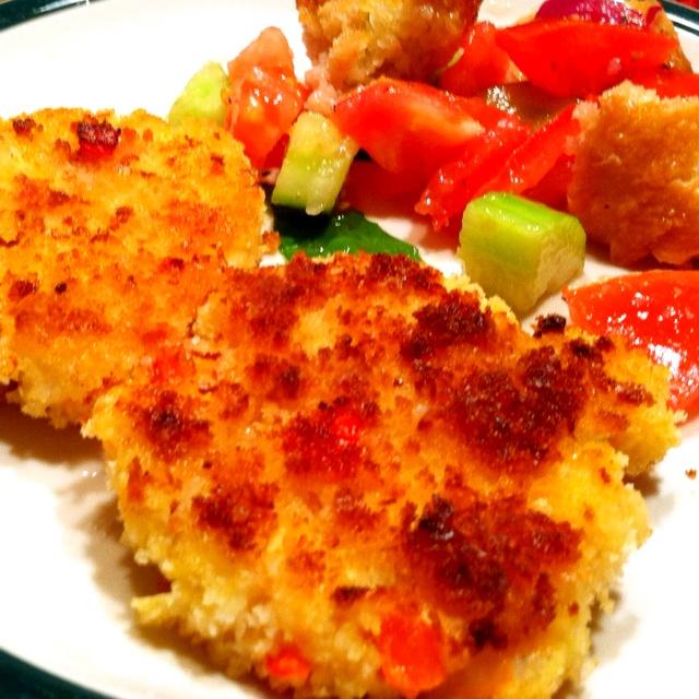 Crispy shrimp cakes and bread salad! | Food | Pinterest