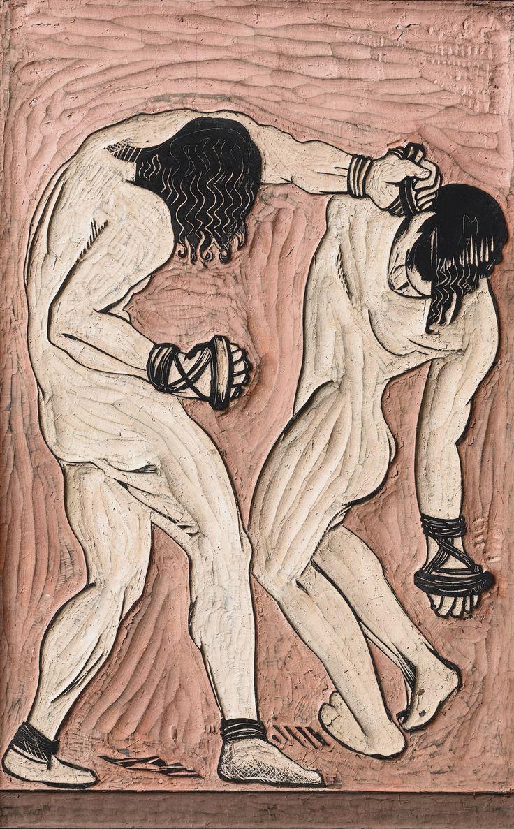 François-Louis Schmied, [1873 - 1941] LES LUTTEURS, VERS 1925, panneau original en bois sculpté et colorié pour impression en couleurs.