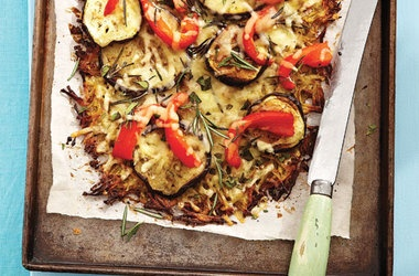 Potato-Crust Pizza With Roasted Eggplant & Peppers Recipe — Dishmaps
