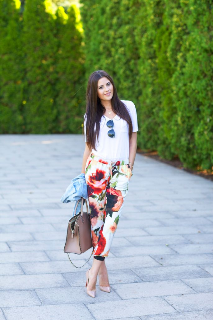 Summer Floral Pants… - Pink Peonies by Rach Parcell