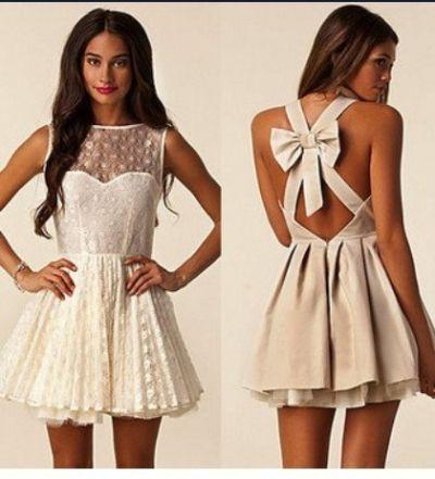 half white mini dress