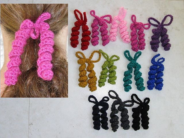 Crochet Hair Spirals : Crocheted Hair Spirals Pattern Hair Stuff for the Kids Pinterest