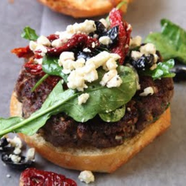 Grilled lamb burger, feta, and sun dried tomatoes...