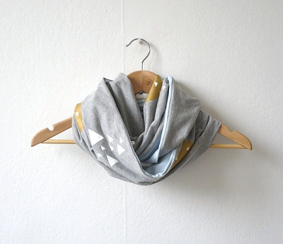 Infinity Scarf Hand Printed / Moon & Mountains by latenightdrawing, $80.00