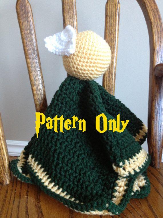 Crochet Patterns Harry Potter : PDF PATTERN - Harry Potter Golden Snitch Lovey Security Blanket Croch ...