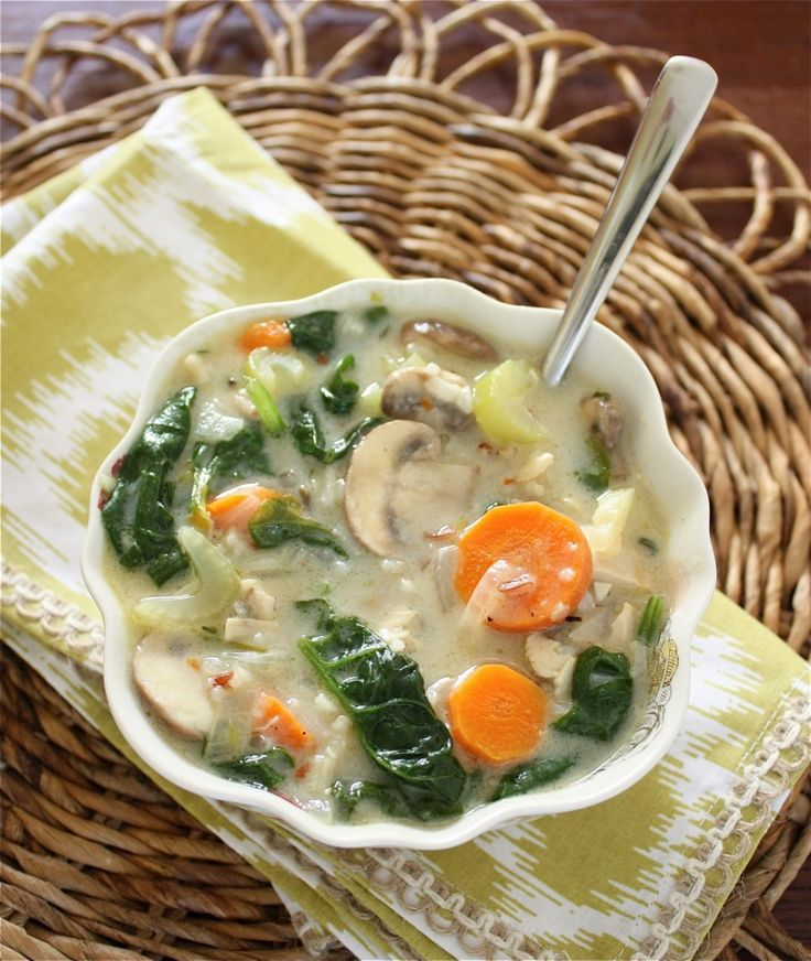 Chicken, Mushroom and Wild Rice Soup with Spinach from A Big Mouthful