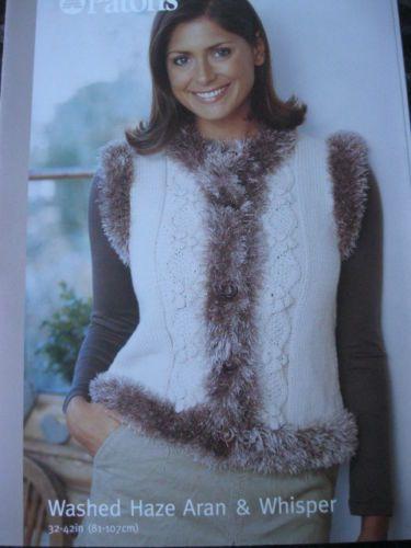 Knitting Pattern Gilet Aran : Patons knitting pattern 03326 ladies gilet aran & whisper Bust 32