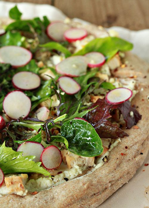 Radish and Goat Cheese Pizza with Spicy Mixed Greens and Optional ...
