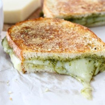 Parmesan Crusted Pesto Grilled Cheese Sandwich