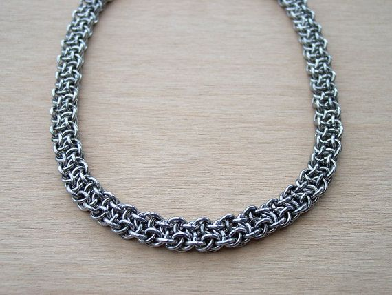 Basket Weave Chainmaille Tutorial : Chainmaille vipera berus necklace basket weave chainmail