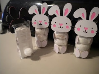 White powdered donut packages dressed up like bunnies