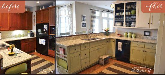 Kitchen transformation using Annie Sloan chalk paint {Old Ochre