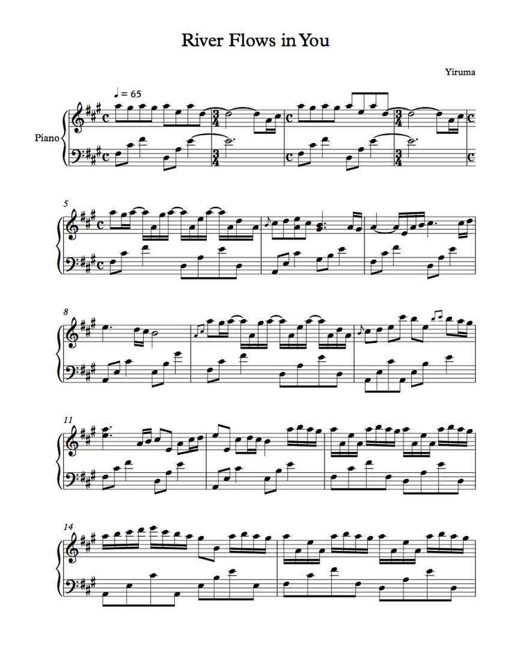 the river flows in you piano sheet pdf