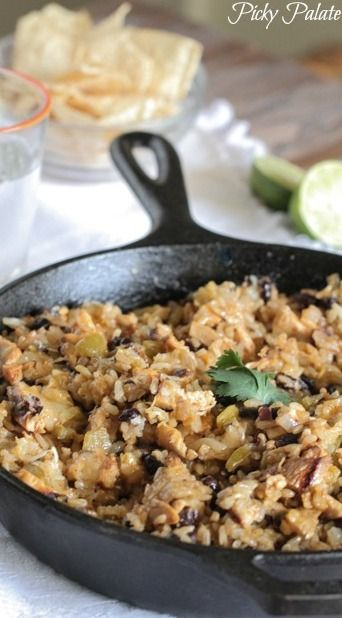 Chicken and Black Bean Green Chili Rice Skillet | Recipe