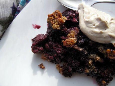 grain-free berry crisp with spiced cashew cream