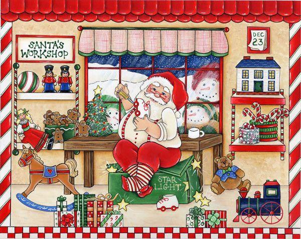 Santa In His Workshop The Magic Of Christmas Pinterest