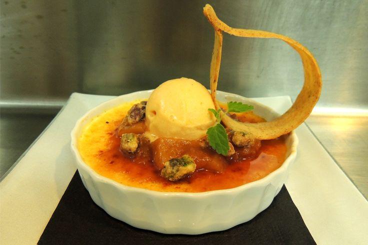 Vanilla Bean Crème Brulee, peach compote, apricot honey sorbet ...
