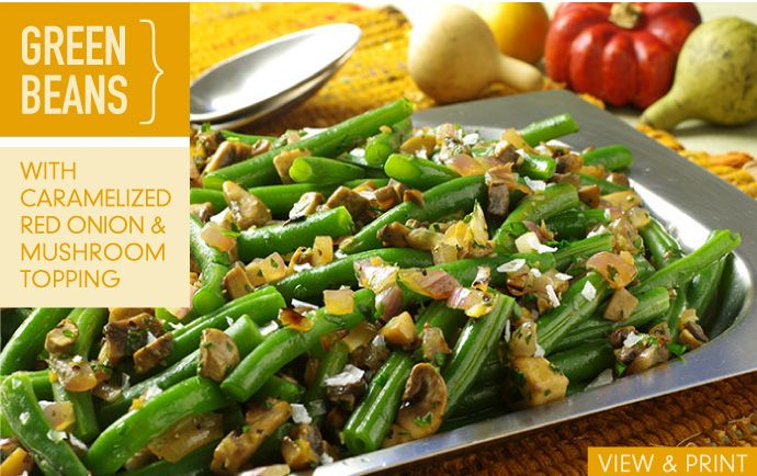 RECIPE: Green Beans with Caramelized Red Onion and Mushroom Topping # ...
