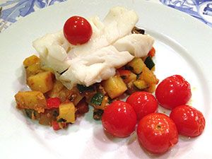 Whitefish with Quick Ratatouille: 322 calories, 11g fat, 1g sat fat ...
