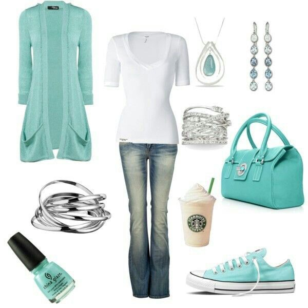 Mint color cardigan,white top,necklace and handbag