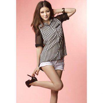 Modern style see through chiffon splice vertical stripe short sleeve