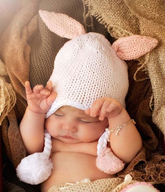 Baby Bunny Crochet Floppy Ears Beanie for Photo Props, Pictures - 5236