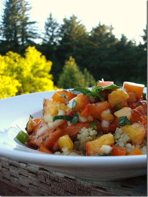 Summer Salmon with Apricot Peach Salsa | healthy and yummy | Pinterest