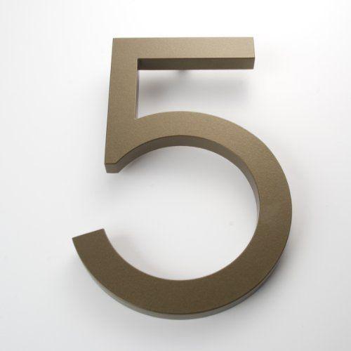 Modern house number bronze color aluminum modern font number five 5