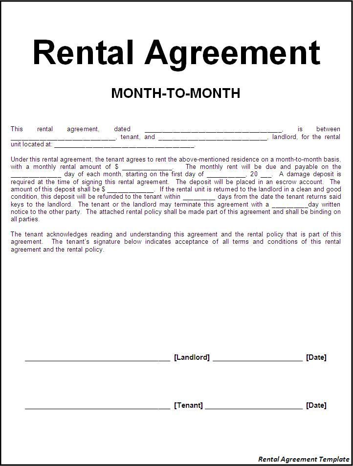 Lease Agreement Word Template