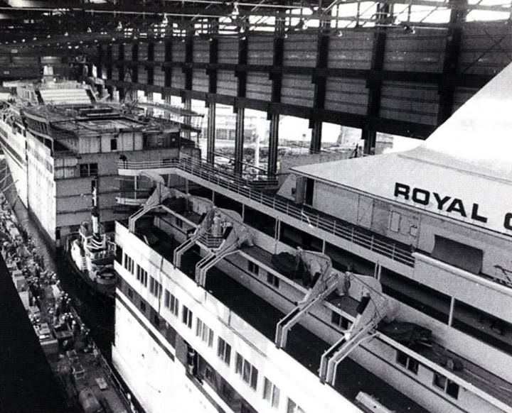 Cruise ship construction. #vintage