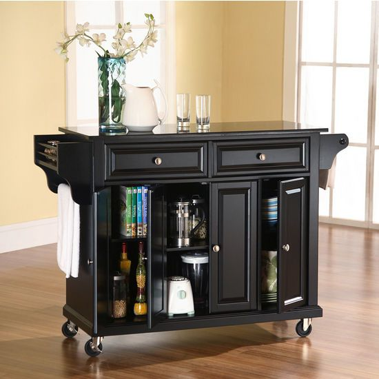 Crosley Furniture Solid Black Granite Top Kitchen Cart Or Island