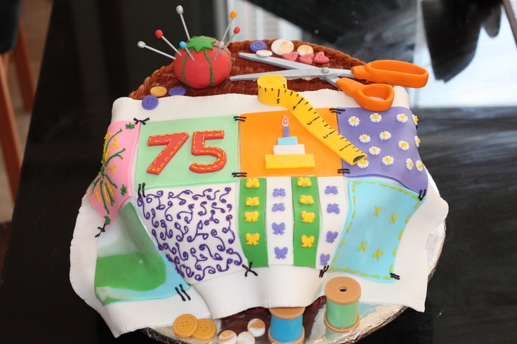 Sewing Cake For 75th Birthday Birthday Cake Ideas Pinterest