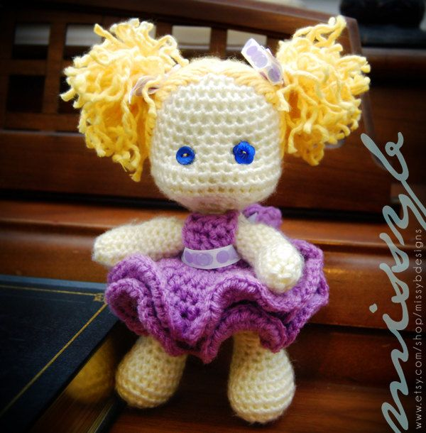Crochet Doll Pattern Cute : Crochet Doll Pattern PDF - Cute Little Lexi Doll - Stuffed ...