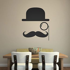 Bowler Hat Moustache Wall Stickers - wall stickers