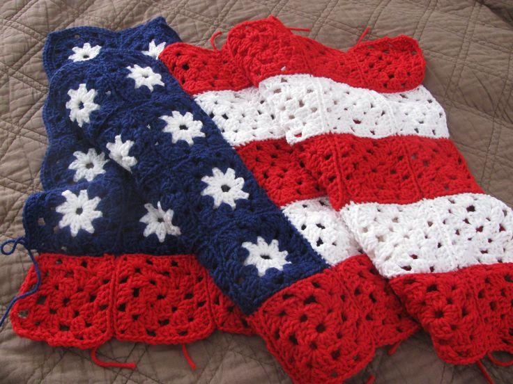 Granny Square American Flag Afghan Crochet blankets Pinterest