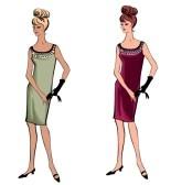 Moda elegante vestito ragazze 1950 s 1960 s stile retrò moda silhouette moda vintage partito da anni '60 stock photography