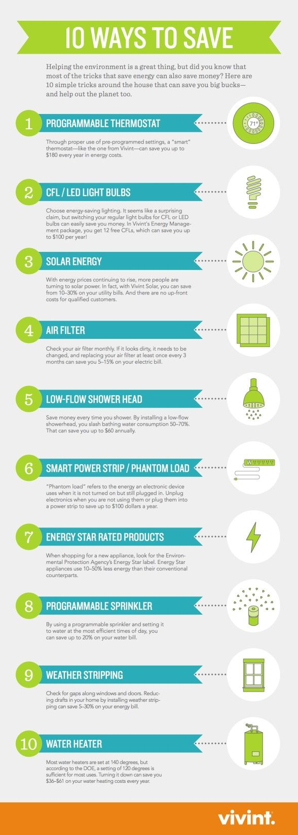ways to conserve energy There are 10 easy ways to save energy in your household, and take charge of your power bill.