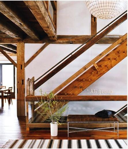 Barn renovation stair railing barn pinterest for Barn renovation