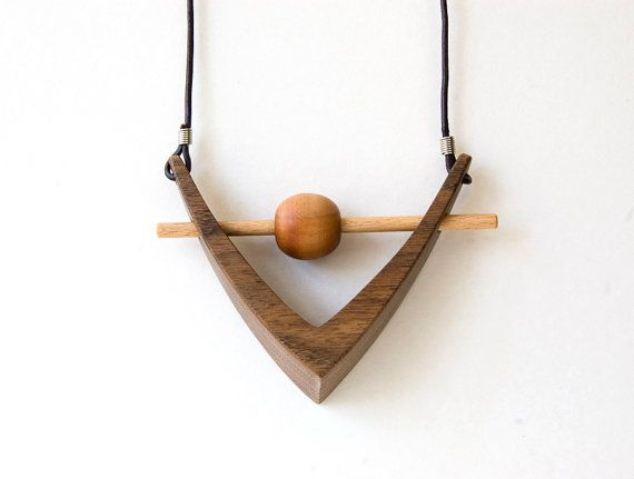 wooden pendant wooden necklace triangle necklace