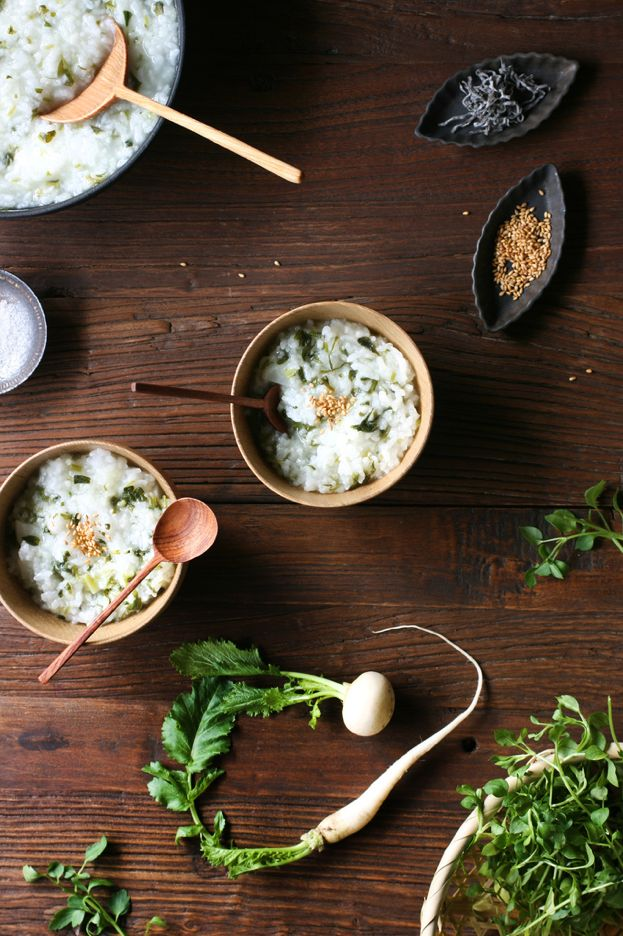Japanese seven herb rice porridge, Nanakusa-gayu 七草粥