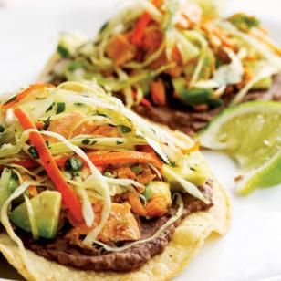 black bean and salmon tostados