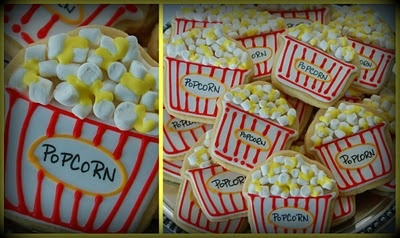 popcorn cookies - cupcake cookie cutter