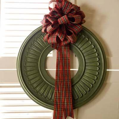 Use a ceiling medallion to create a fun and easy wreath!